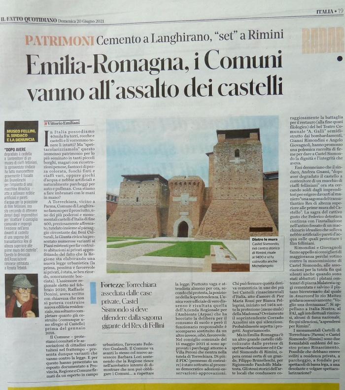 Castel Sismondo in pericolo! Vittorio Emiliani interviene sul Fatto Quotidiano (20.6.2021)