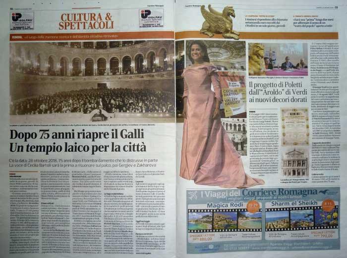 """Corriere Romagna: """"Dopo 75 anni riapre il Galli un tempio laico per la città"""" (1)"""