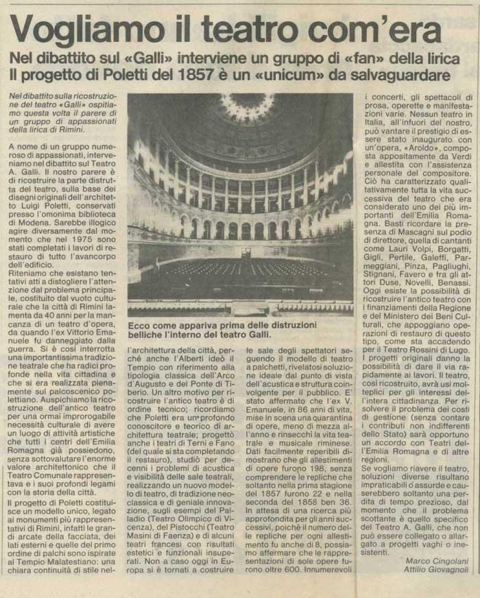 """Una battaglia trentennale per il ripristino vinta. Marco Cingolani, Attilio Giovagnoli: """"Vogliamo il teatro com'era"""" [Resto del Carlino 4.1.1984]"""