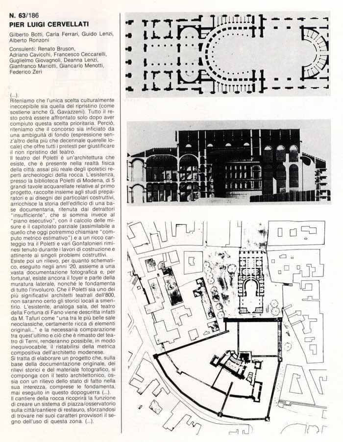 Il ripristino filologico del Teatro Galli presentato da Cervellati al concorso del 1985