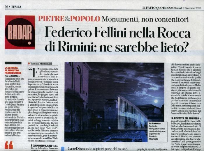 Tomaso Montanari: Federico Fellini nella Rocca di Rimini: ne sarebbe lieto? (Il fatto quotidiano, 9.11.2020)