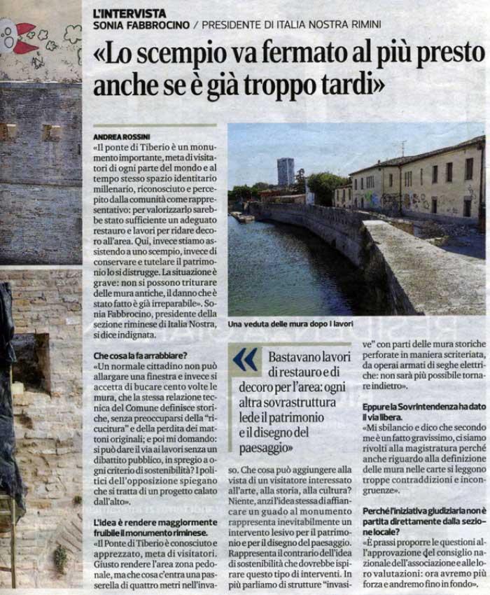 "Corriere Romagna: ""Esposto sul Tiberio, fermate lo scempio"" interviene Italia Nostra (3) [23.8.2017]"