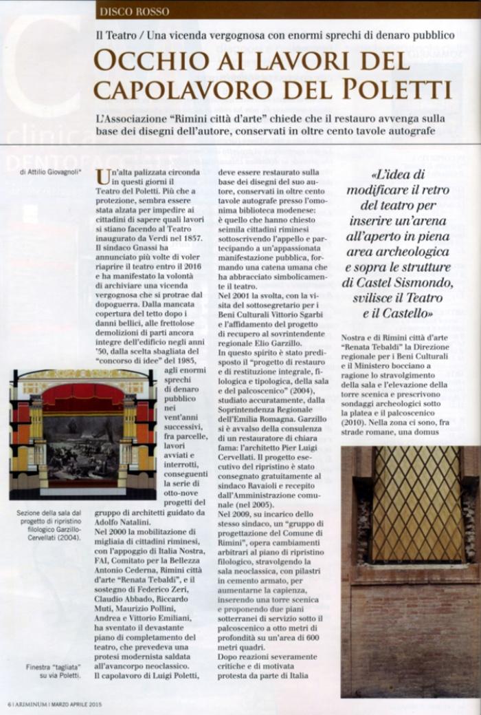 Ariminum, Attilio Giovagnoli: Occhio ai lavori del capolavoro del Poletti (1)