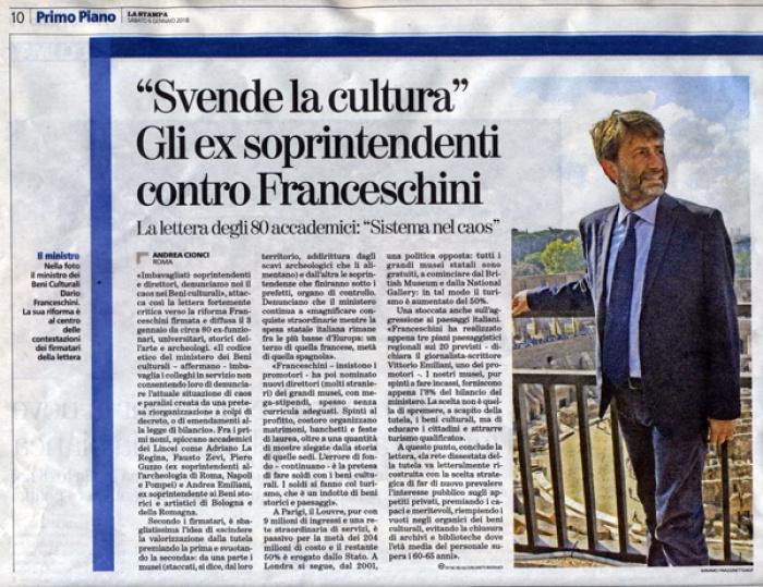 """La Stampa: """"Svende la cultura"""" Gli ex soprintendenti contro Franceschini, Sistema nel caos [6.1.2018]"""