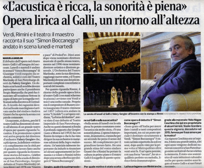Corriere Romagna: intervista Valery Gergiev a Rimini (12 dicembre 2018)